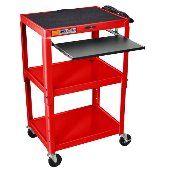 Adjustable Height Metal AV Cart by Offex