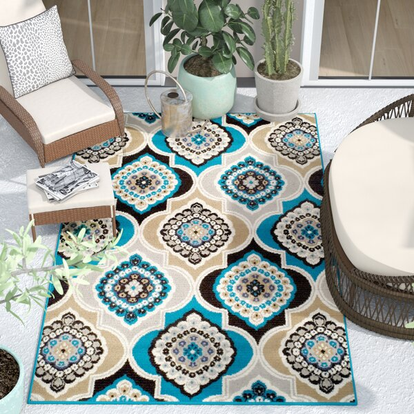 Bever Panal and Diamonds Foyer Gray/Blue Indoor/Outdoor Area Rug by Bungalow Rose