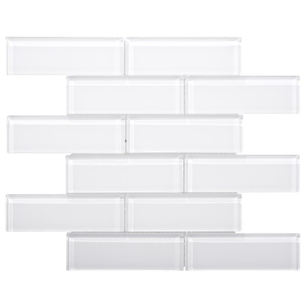 Premium Series 2 x 6 Glass Subway Tile in White by WS Tiles