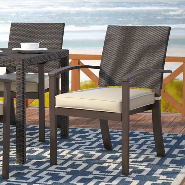 Levey Stacking Patio Dining Chair with Cushion (Se