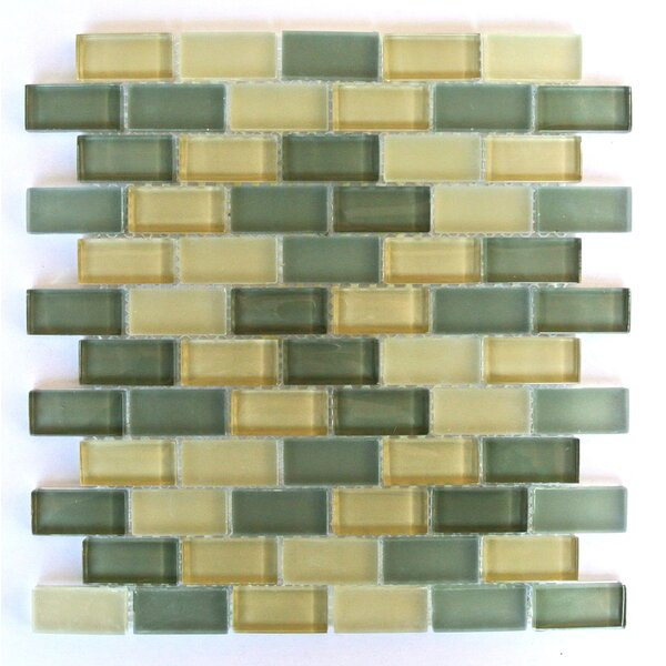 Free Flow 1 x 2 Glass Mosaic Tile in Glazed Green and Beige by Abolos