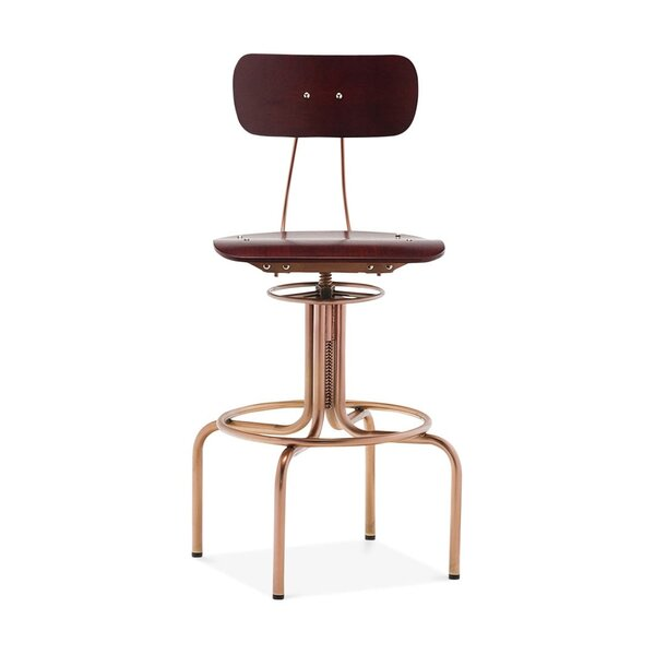 Goulart Adjustable Height Swivel Bar Stool by Ivy Bronx