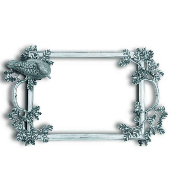 Morning Hunt Pewter and Glass Serving Tray with Ornate Pewter Duck by Vagabond House