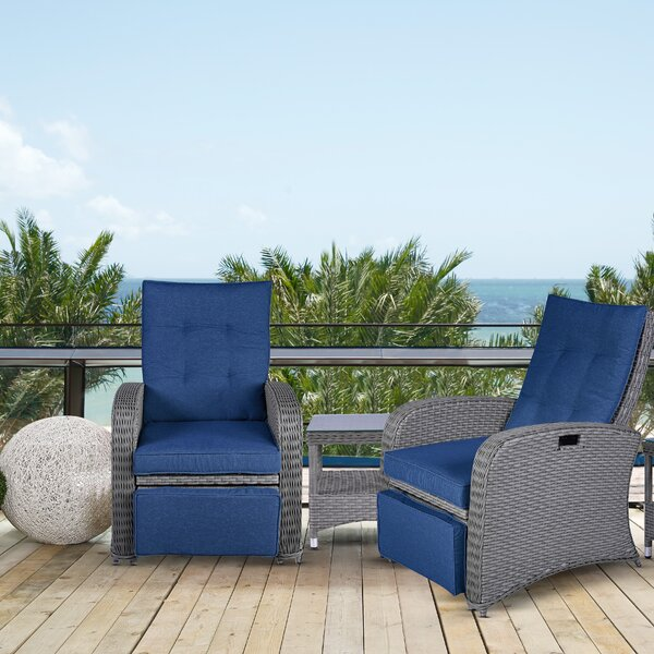 Plattsburg Outdoor 3 Piece Seating Group with Cushions by Alcott Hill