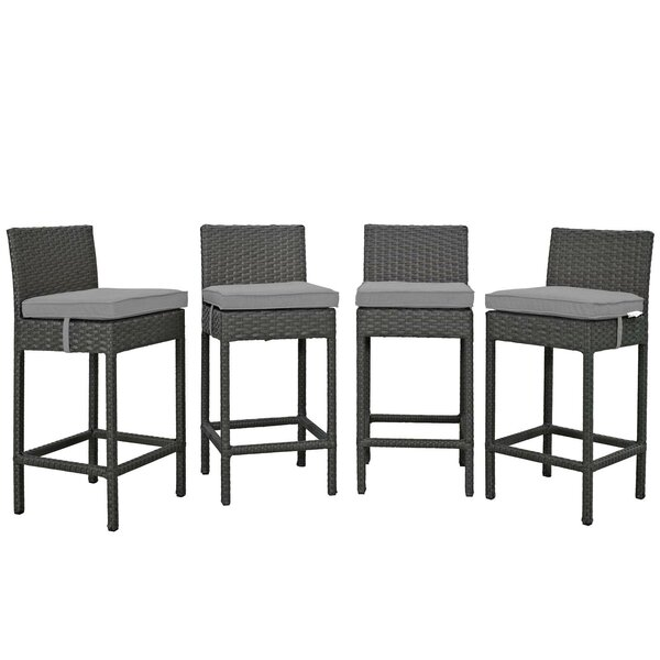 Tripp 27.5 Patio Bar Stool with Cushion (Set of 4) by Brayden Studio