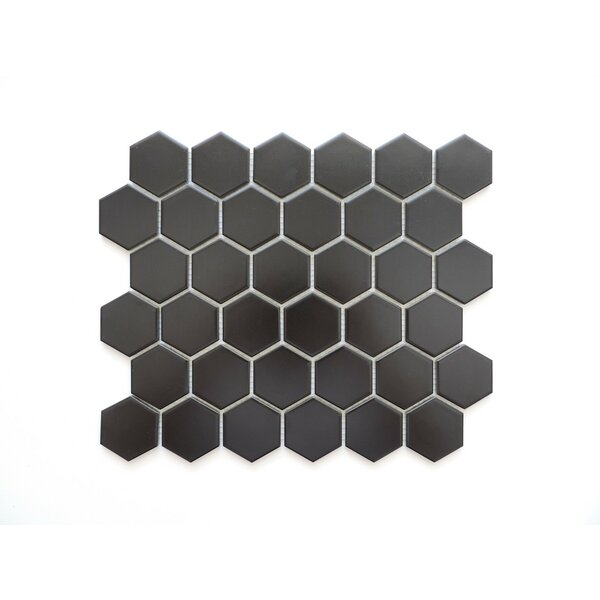 Barcelona Hexagon Matte 2 x 2.32 Porcelain Mosaic Tile in Black by The Mosaic Factory