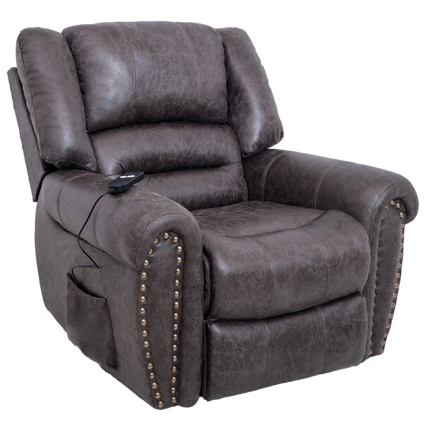 Lit Genuine Leather Power Lift Assist Recliner W003396875