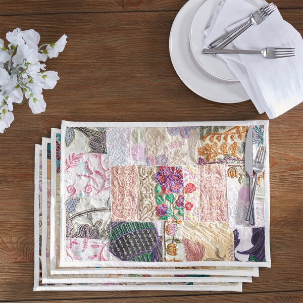 Jatia Hand Crafted Embroidery Cotton and Poly Recyled Sari Placemat (Set of 4) by Bloomsbury Market