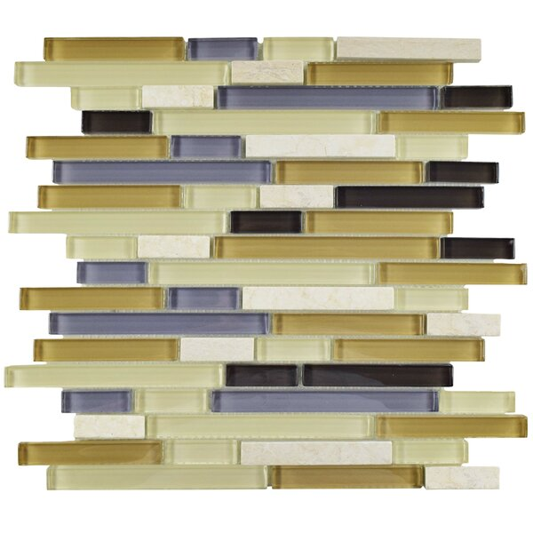 Sierra Random Sized Glass and Natural Stone Mosaic Tile in Cream/Blue by EliteTile