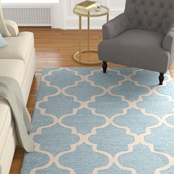 Felix Blue / Ivory Geometric Area Rug by Alcott Hill