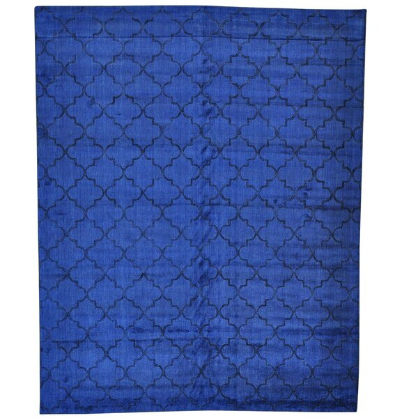 Overdyed Loomed and Hand-Knotted Blue Area Rug by Bloomsbury Market