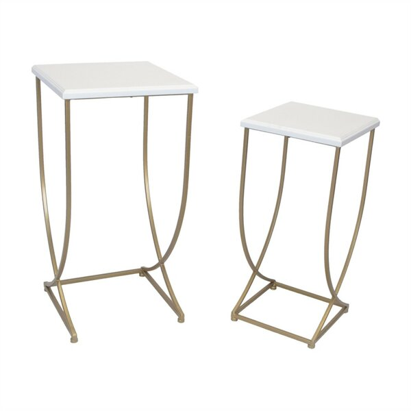 Kibler Stylish Metal 2 Piece Nesting Tables by Everly Quinn