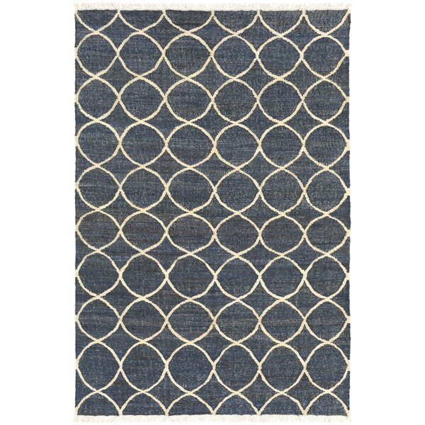 Drown Hand-Woven Neutral/Blue Area Rug by Charlton Home