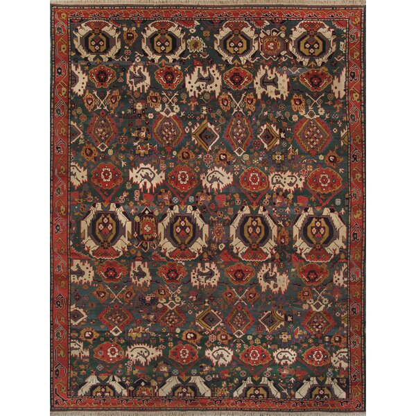 Kazak Hand-Knotted Green Area Rug by Pasargad