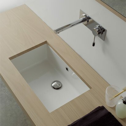 Miky Ceramic Rectangular Undermount Bathroom Sink with Overflow by Scarabeo by Nameeks