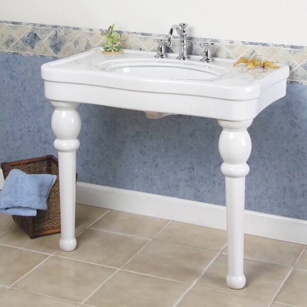 Versailles Ceramic 36 Console Bathroom Sink with Overflow by Barclay