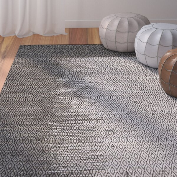 Logan Leather Hand-Woven Light Gray Area Rug by Bungalow Rose