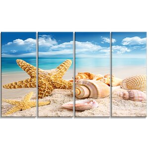 'Starfish and Seashells on Beach' 4 Piece Graphic Art on Wrapped Canvas Set by Design Art