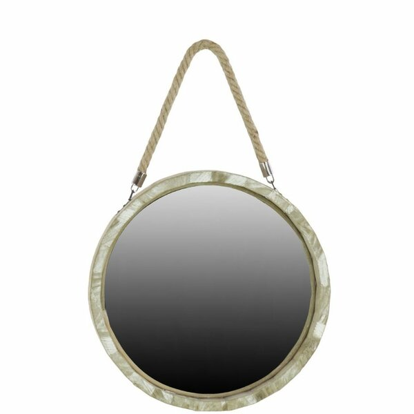 Attica Wood Round Wall Mirror with Small Rope Hanger by Highland Dunes