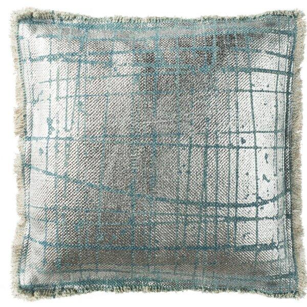 Coppola Metallic Grid Cotton Throw Pillow by Mercer41