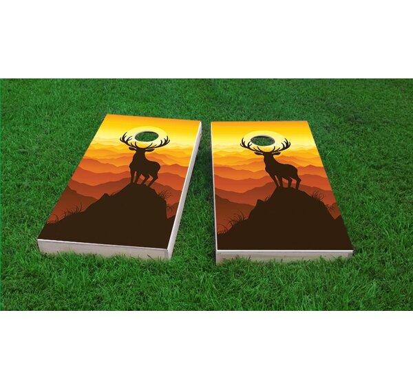 Deer Buck Mountain Sunset Cornhole Game Set by Custom Cornhole Boards