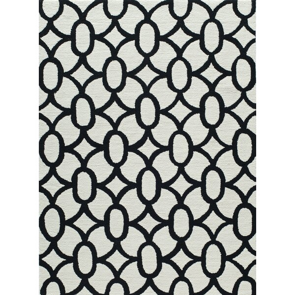 Agnese Geometric Hand-Hooked Black Area Rug by Willa Arlo Interiors