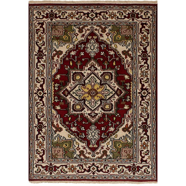 One-of-a-Kind Larsen Hand-Knotted Wool Dark Red Area Rug by Bloomsbury Market