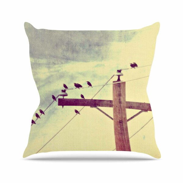 Sylvia Coomes Vintage Birds on a Wire 2 Digital Outdoor Throw Pillow by East Urban Home
