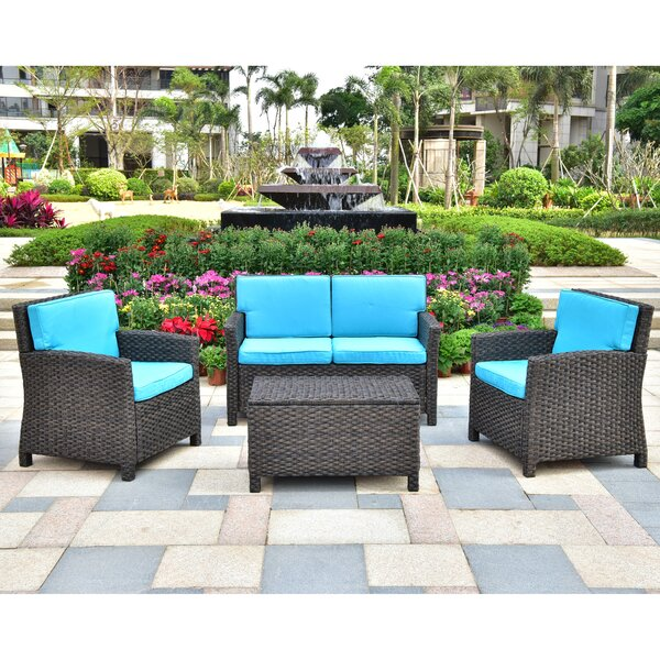 Woodacre 4 Piece Sofa Seating Group with Cushions by Bay Isle Home