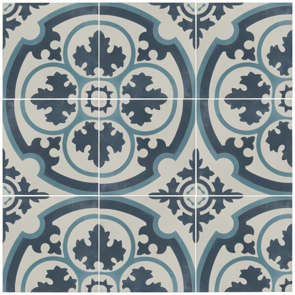 Ciment 7.88 x 7.88 Cement Field Tile in Blue/White by EliteTile