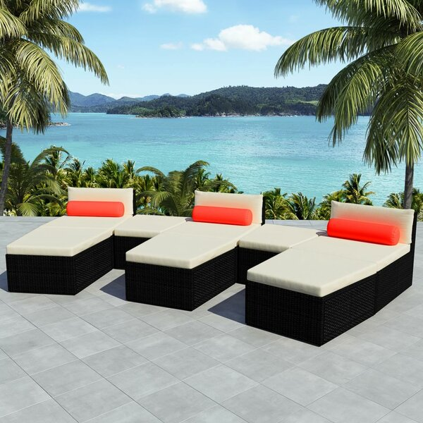 Vogelsang Sun Lounger Set with Cushions and Table by Highland Dunes Highland Dunes