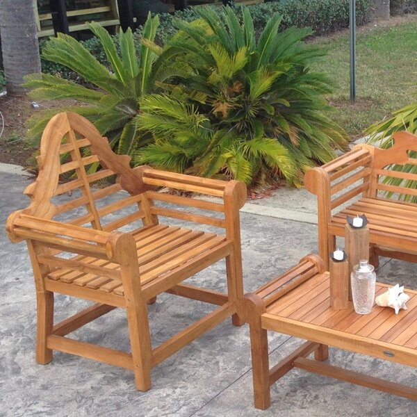 Passarelli Teak Patio Dining Chair with Cushion by Bloomsbury Market