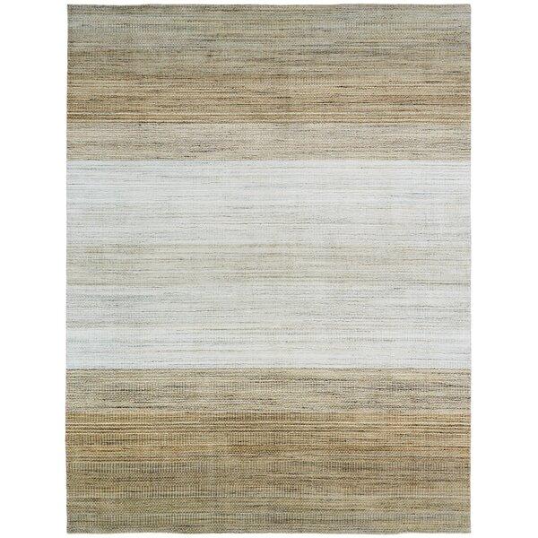 Maghull Soft Handmade Wool/Silk Ivory/Brown Area Rug