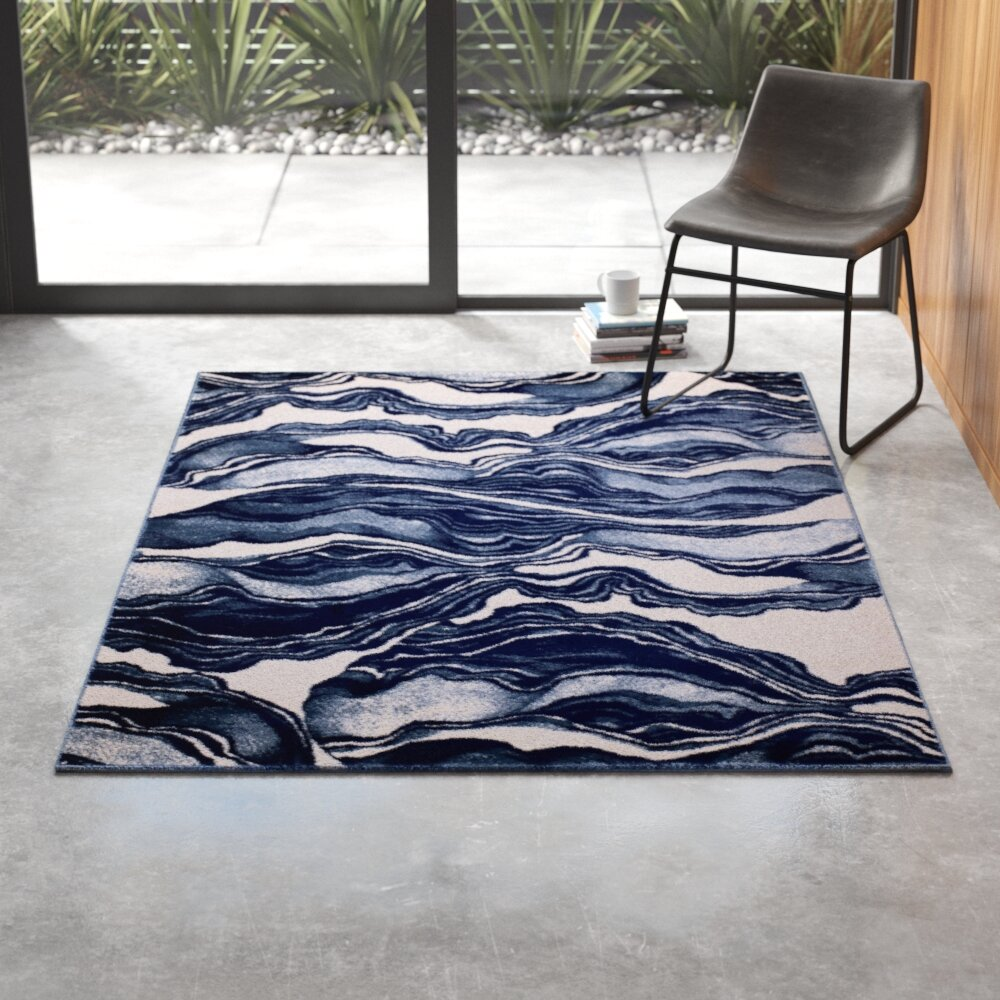 Cretys Abstract Navy Blue White Area Rug Reviews Allmodern