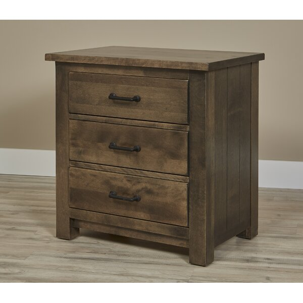 Linsey Bench Built 3 Drawer Nightstand by Millwood Pines