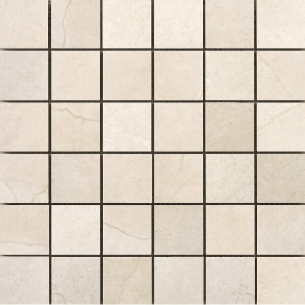 St Moritz II 2 x 2 Porcelain Mosaic Tile in Cream by Emser Tile