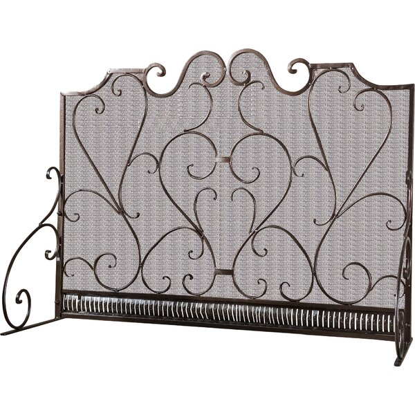 Uriah 3 Panel Iron Fireplace Screen by Fleur De Lis Living