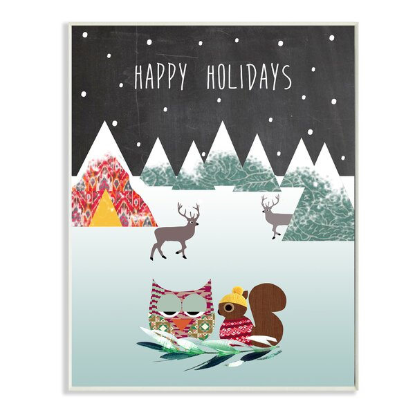 Happy Holidays with Owl and Chipmunk Graphic Art Print by Stupell Industries