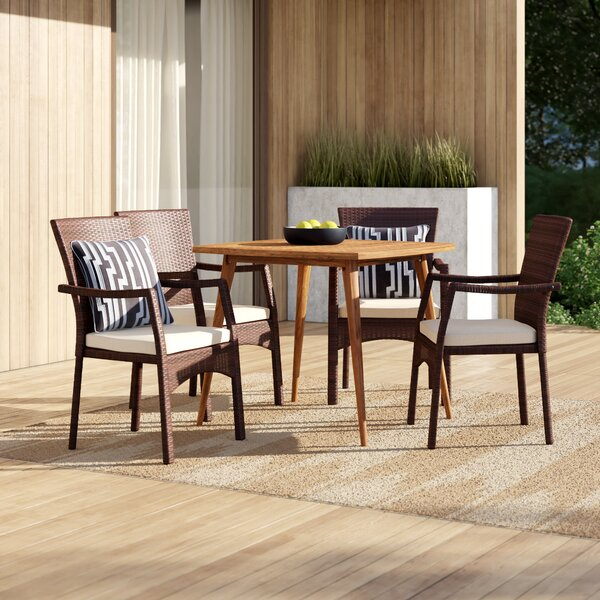 Lindholm 5 Piece Teak Dining Set with Cushions by Mercury Row