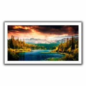 'Mountain View' Graphic Art on Rolled Canvas