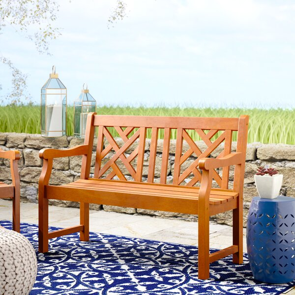 Stephenie Wooden Garden Bench by Longshore Tides
