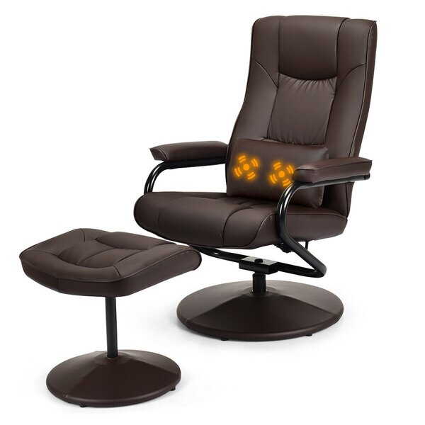 Ovando Faux Leather Manual Swivel Recliner with Ottoman W003261888