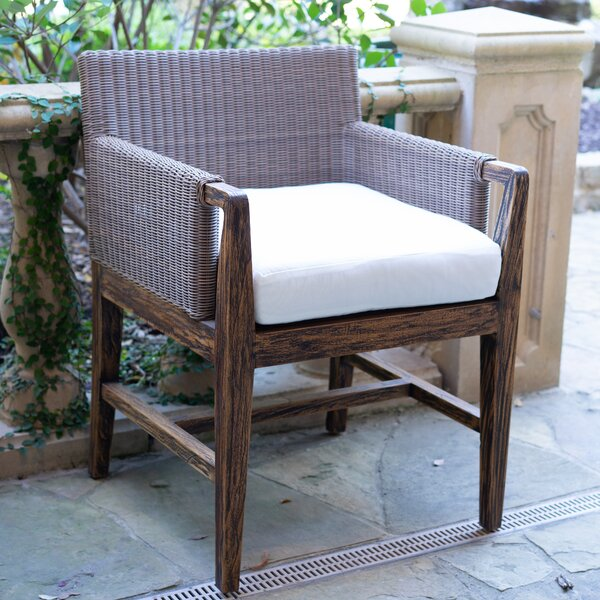 DeMontfort Teak Patio Dining Chair with Cushion by Bayou Breeze
