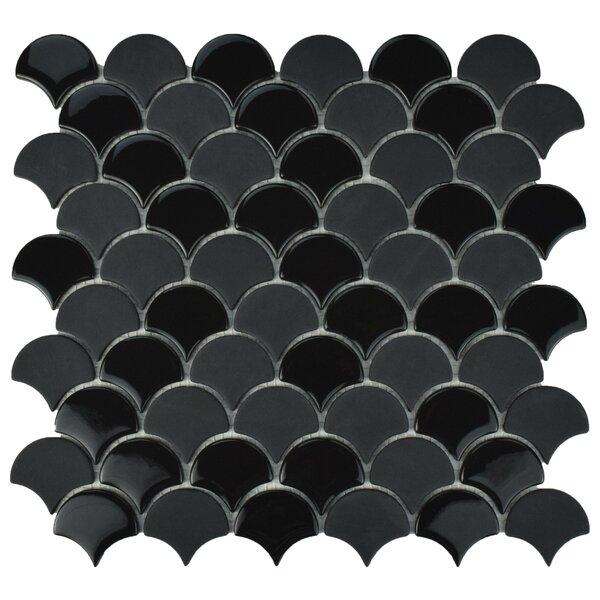Esamo Scallop 1.74 x 1.88 Glass Mosaic Tile in Black by EliteTile