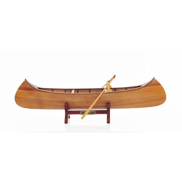 Brown Wood Indian Girl Model Boat by Loon Peak