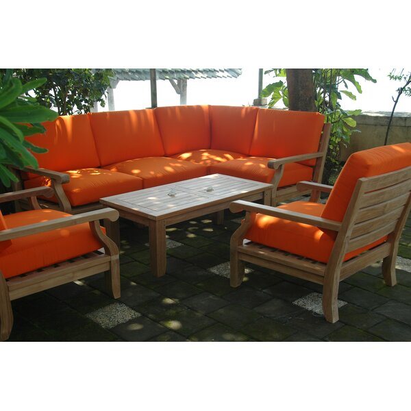 Gatsby Luxe 7 Piece Teak Sectional Seating Group with Sunbrella Cushions by Rosecliff Heights