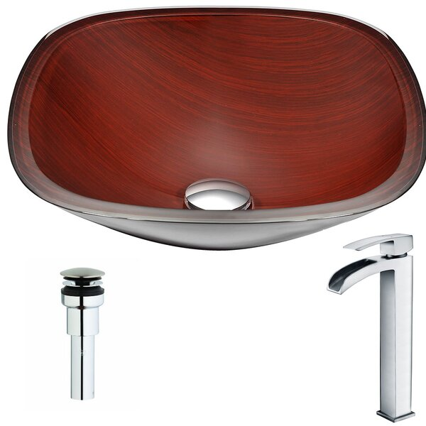 Cansa Glass Square Vessel Bathroom Sink with Fauce