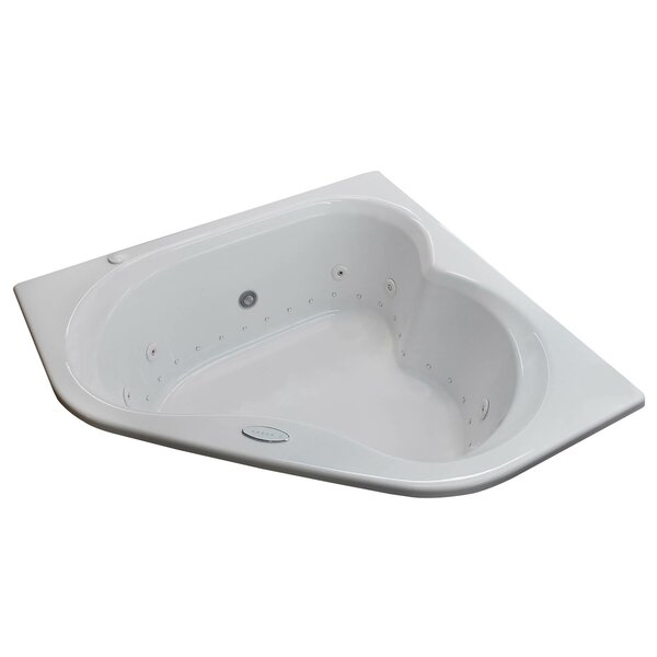 Tobago 59.25 x 59.25 Corner Air & Whirlpool Jetted Bathtub with Center Drain by Spa Escapes