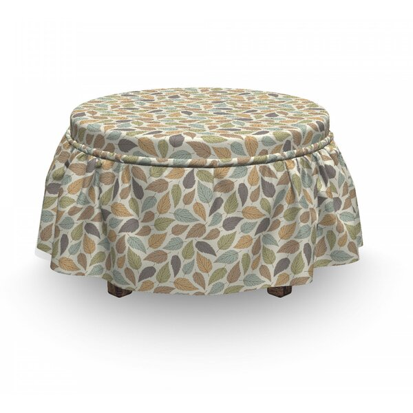 Autumn Pastel Colors Leaf Ottoman Slipcover (Set Of 2) By East Urban Home