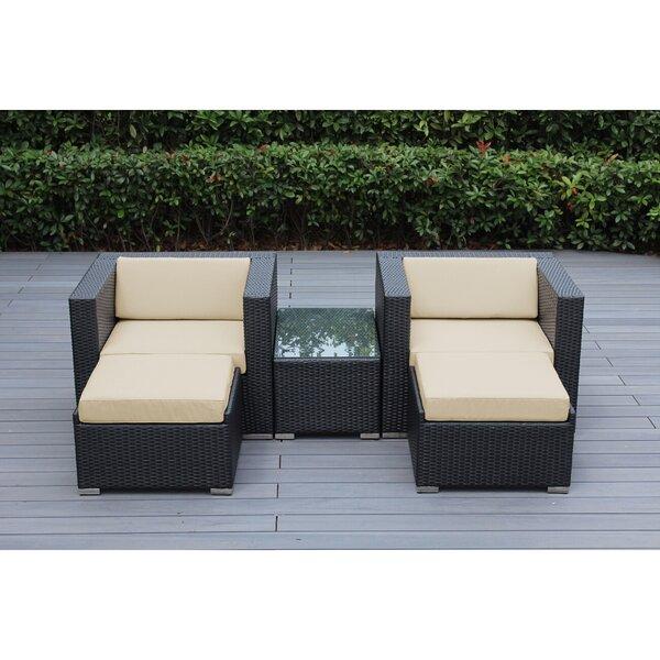 Baril 5 Piece Rattan Conversation Set with Sunbrella Cushions by Wade Logan